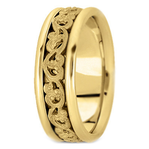 14K Yellow Gold Vintage Engraved Men's Wedding Band