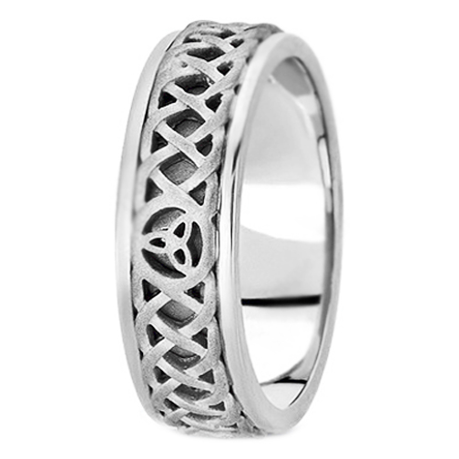 14K White Gold Celtic Knot Trinity Intertwined Engraved Mens Wedding Band