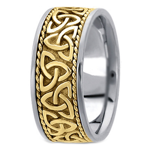 Two Tone 14K White Yellow Gold Engraved Mens Celtic Knot Trinity Roped Wide Wedding