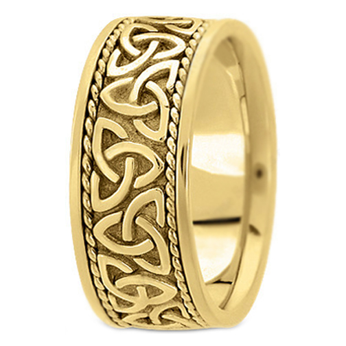 14K Yellow Gold Celtic Knot Trinity Roped Engraved Men 39s Wide Wedding Band
