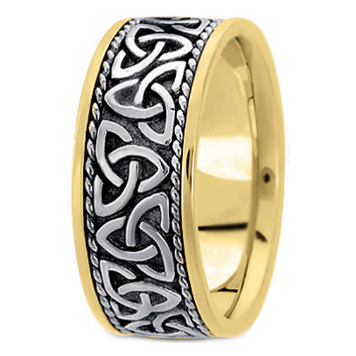 Two Tone 14K Yellow White Gold Celtic Knot Trinity Roped Engraved Mens Wide Wedding