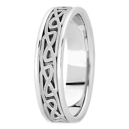 Platinum Engraved Men's Intertwined Wedding Band