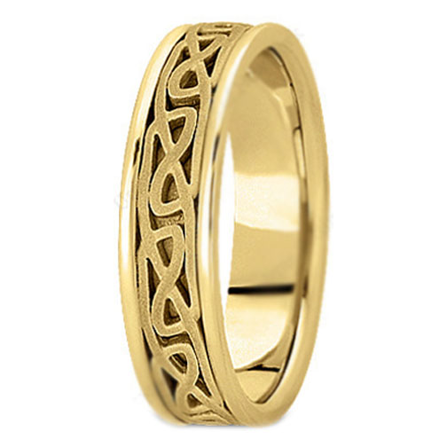 14K Yellow Gold Intertwined Engraved Men's Wedding Band