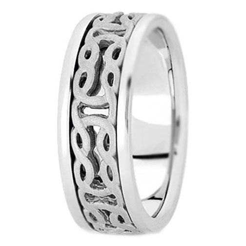 14K White Gold Intertwined Engraved Men's Wedding Ring