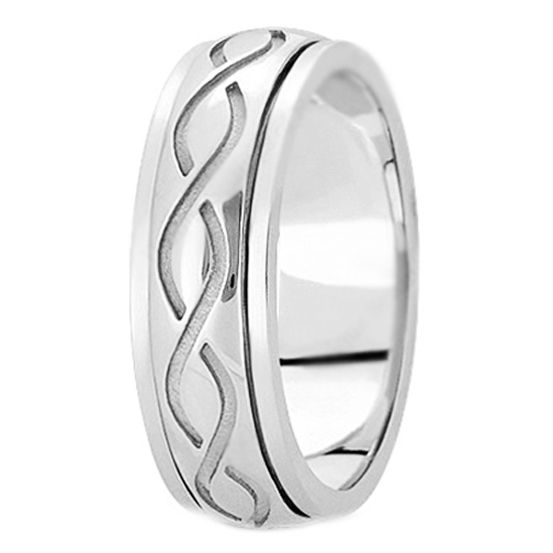 14K White Gold Engraved 7 mm Men's Intertwined Wedding Ring