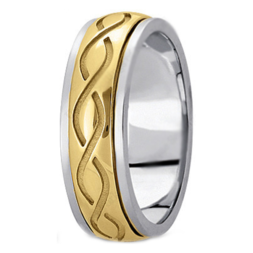 Two-Tone 14K White & Yellow Gold Intertwined Engraved Men's Wedding Ring 7 mm
