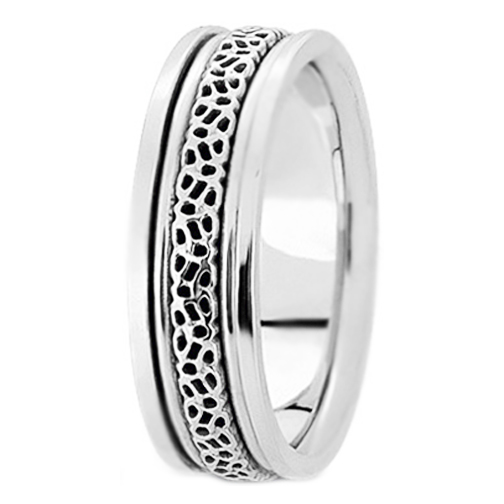 14K White Gold Engraved 6.5 mm Men's Intertwined Wedding Ring