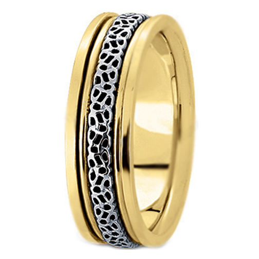 14K Yellow and White Gold Engraved 6.5 mm Men's Intertwined Wedding Ring