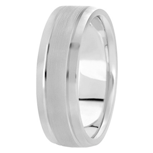 14K White Gold 5mm Men's Satin Finished Wedding Ring