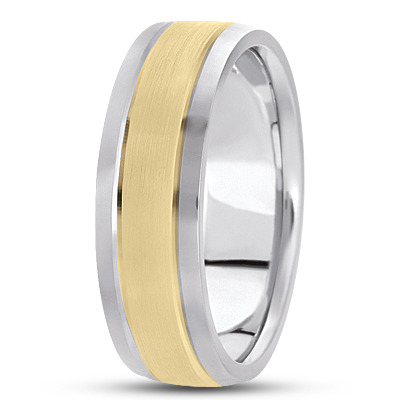 Two-Tone 14K White & Yellow Gold Men's Satin Finished Wedding Ring 5 mm