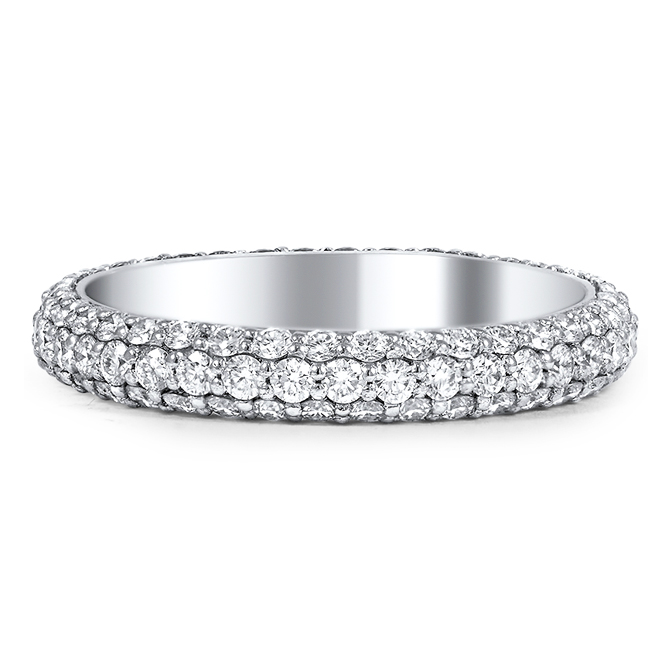 Round Diamond Eternity Wedding Band G-H VS 1.57 tcw. In 14K White Gold