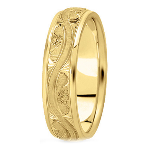 14K Yellow Gold 5 mm Men's Antique Wedding Ring