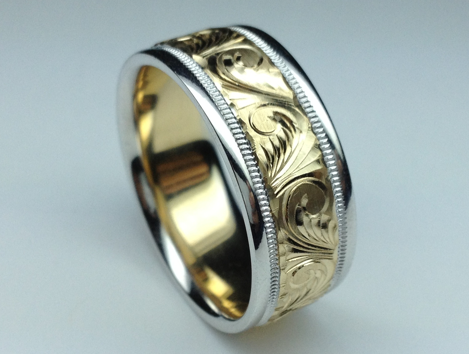 Two-Tone 14K White & Yellow Gold 8 mm Men's Engraved Milligrained Wedding Band