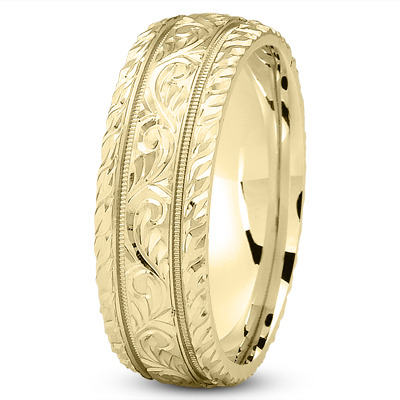 Diamond Cut Engraved Yellow Wedding Band