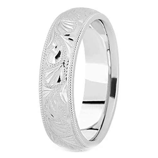 Platinum 6 mm Men's Diamond Cut Engraved Wedding Band