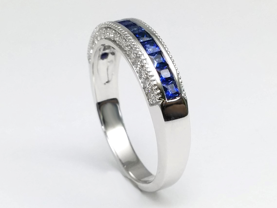 Princess Cut Blue Sapphire Wedding Ring Channel Set In 14K White Gold