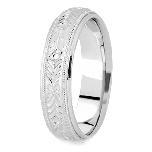 14K White Gold 5 mm Men's Milligrained Engraved Wedding Band