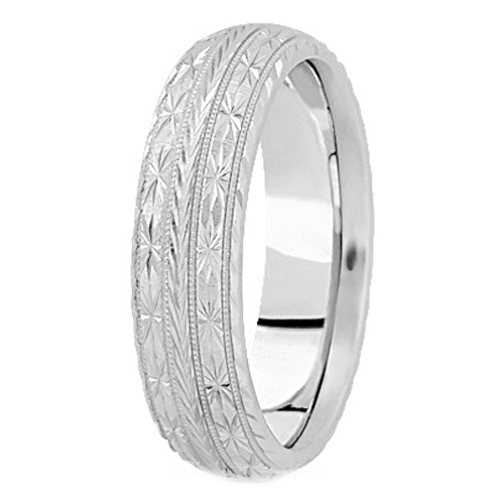 Platinum 7 mm Men's Diamond Cut Engraved Wedding Band