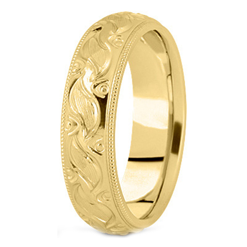 14K Yellow Gold 7 mm Men's Milligrained Engraved Wedding Band