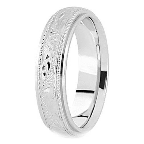 14k White Gold 5 Mm Men S Roped Engraved Wedding Band