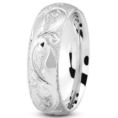 Sandblast Engraved Wedding Band