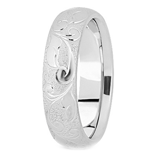 14K White Gold 5 mm Men's Diamond Cut Engraved Satin Wedding Band