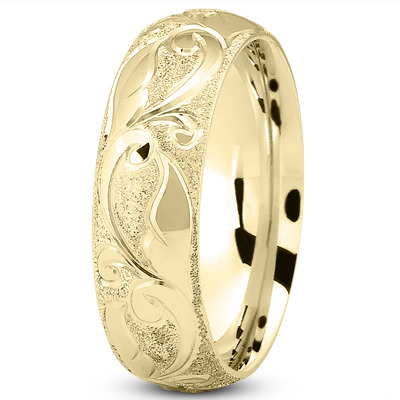Sandblast Engraved Yellow Wedding Band