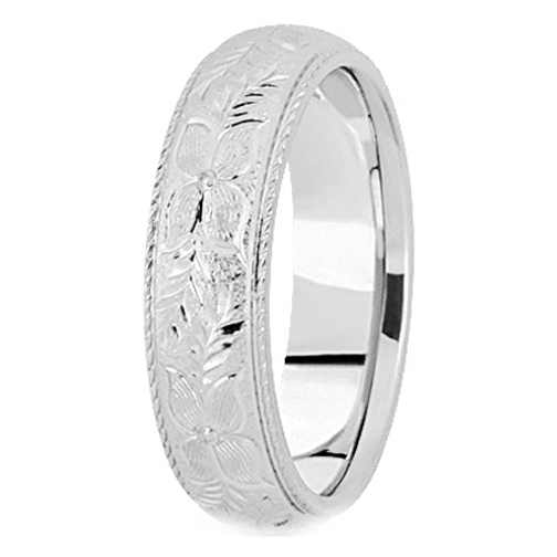 14K White Gold 5 mm Men's Roped Engraved Wedding Ring