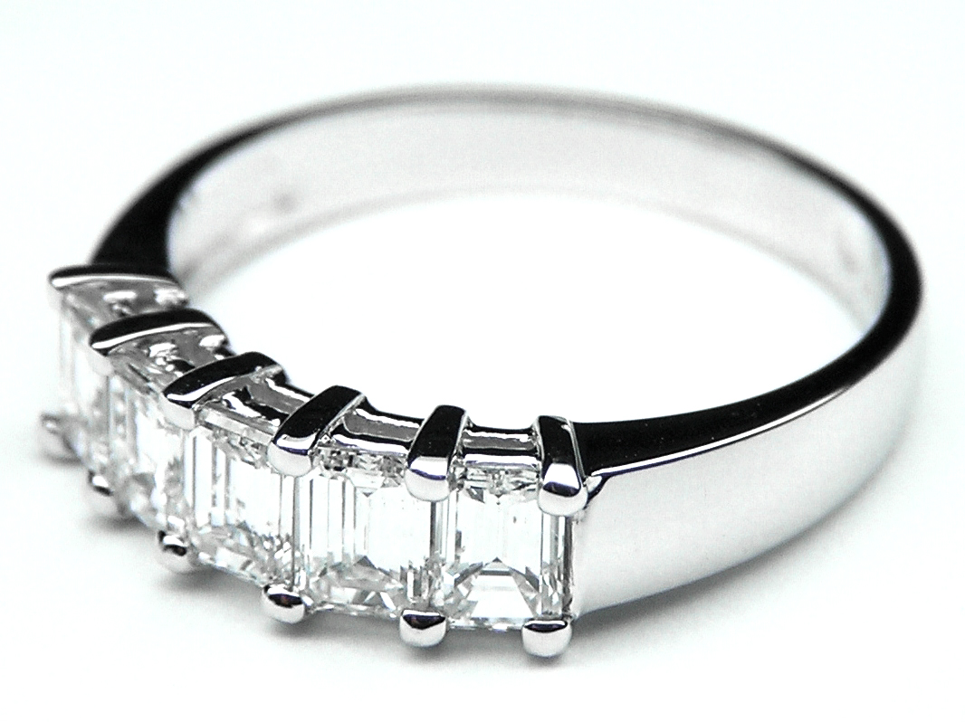 Five Stone Emerald Cut Diamond Wedding Band G-H VS 3.5 tcw. In 14K White Gold