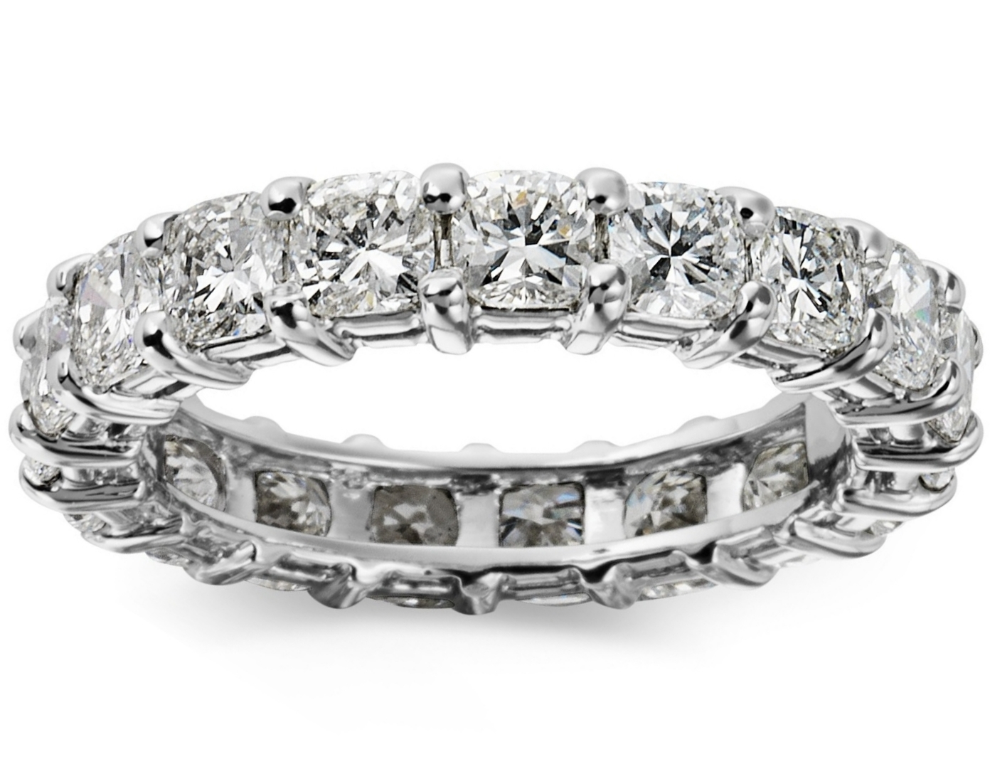 Cushion Cut Diamond Eternity Ring 2.6 carat tw. in Platinum