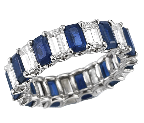 Wedding Band Emerald Cut Diamond Sapphire Eternity Ring in 14K