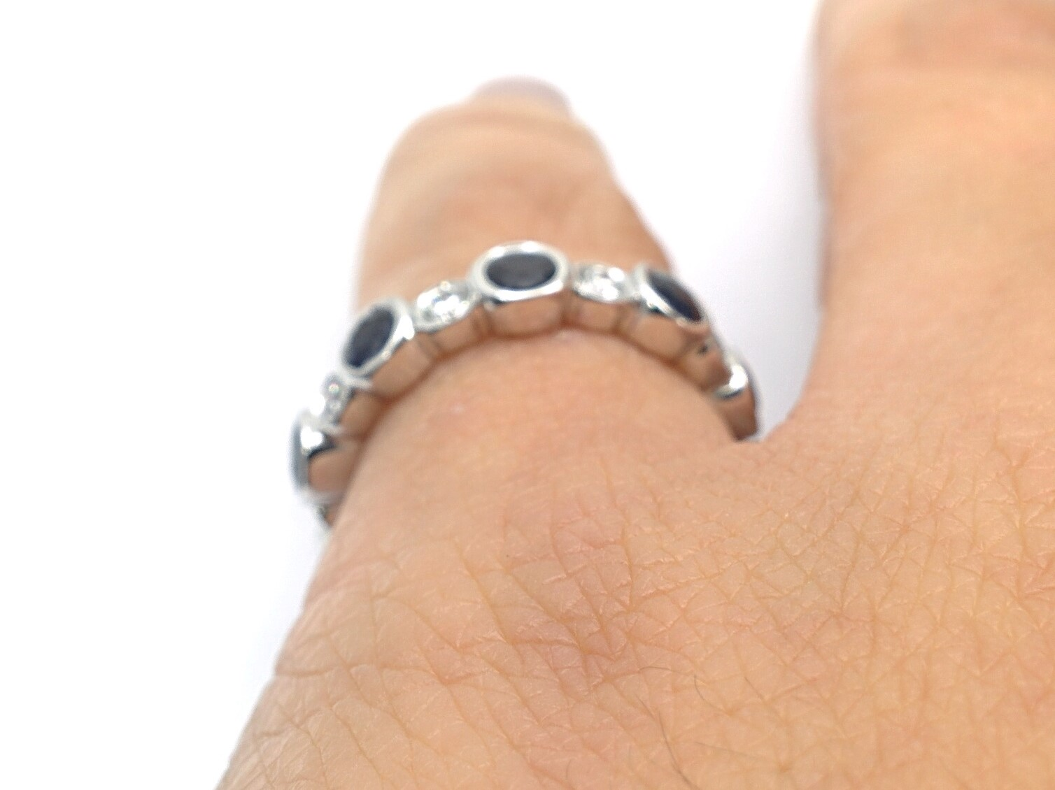 Alternating Blue Sapphire - Diamond Wedding Band, in 14k white gold