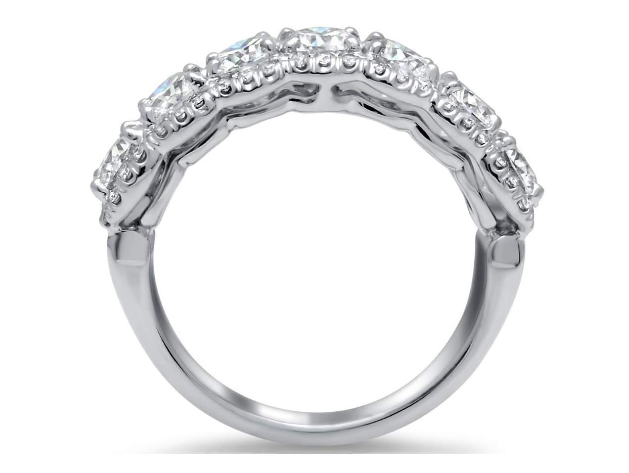 Seven Stone Cushion Diamond Wedding Ring 2.5 Carat Total Weight
