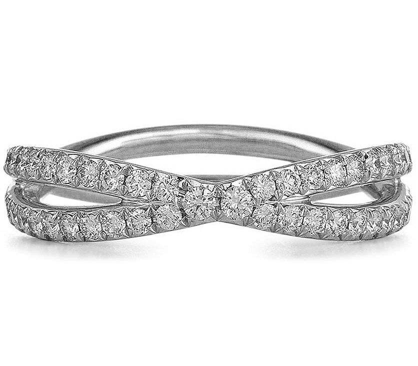 Infinity Fidelity Diamond Crossover Ring 0.6 tcw in 14K White Gold