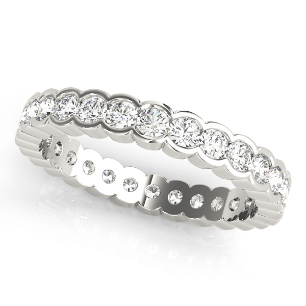 Semi Bezel Eternity Wedding Ring White Gold