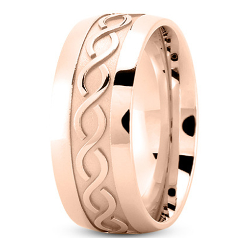 Men's Infinity Engraved Wedding Ring 9 mm 14K Rose Gold