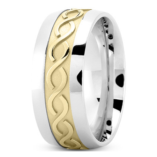 Men's Infinity Engraved Wedding Ring 9 mm 14K Two Tone Gold