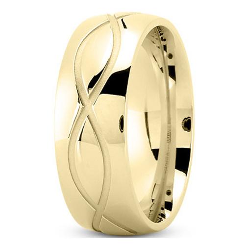 Men S Infinity Engraved Wedding Ring 8 Mm 18k Yellow Gold