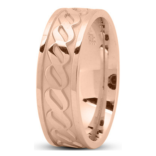 Men's Infinity Engraved Wedding Ring 7 mm 14K Rose Gold