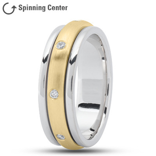 Spinning Diamond Wedding Ring in 14K Two Tone Gold 0.16 tcw.