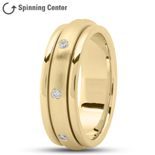 Spinning Diamond Wedding Ring in 18K Yellow Gold 0.16 tcw.