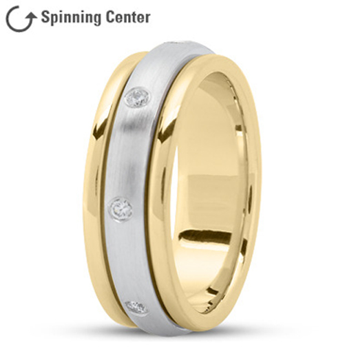 Spinning Diamond Wedding Ring in 18K Yellow and White Gold 0.16 tcw.