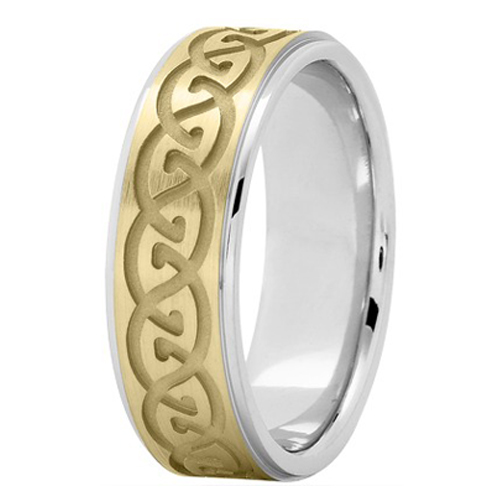 Men's Infinity Engraved Wedding Ring 7 mm 14K Two Tone Gold