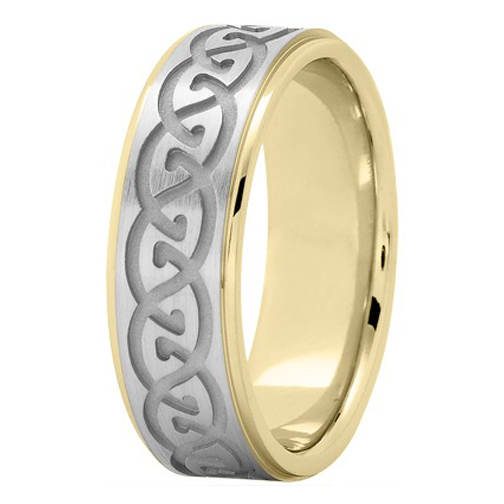 Men's Infinity Engraved Wedding Ring 7 mm 18K Yellow and White Gold