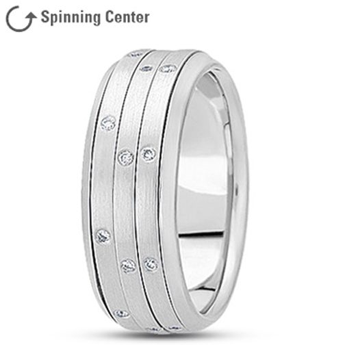 Three Row Diamond Spinner Ring