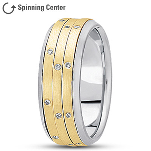 Three Row Spinning Diamond Wedding Ring in 14K White and Yellow 0.24 tcw.