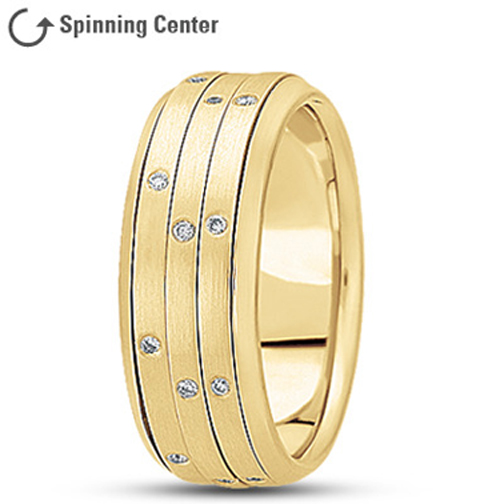 Three Row Spinning  Diamond Wedding Ring in 18K Yellow 0.24 tcw.
