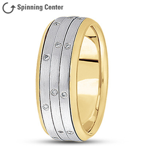 Three Row Diamond Spinning Wedding Ring in 18K Two Tone Gold 0.24 tcw.