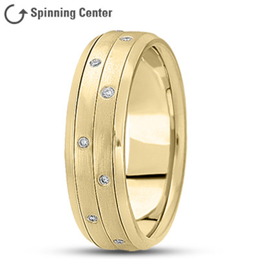 Two Row Spinning Diamond Wedding Ring in 18K Yellow Gold 0.16 tcw.