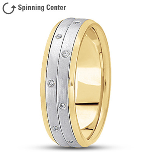 Diamond Two Row Spinner Ring in 18K Yellow and White Gold 0.16 tcw.